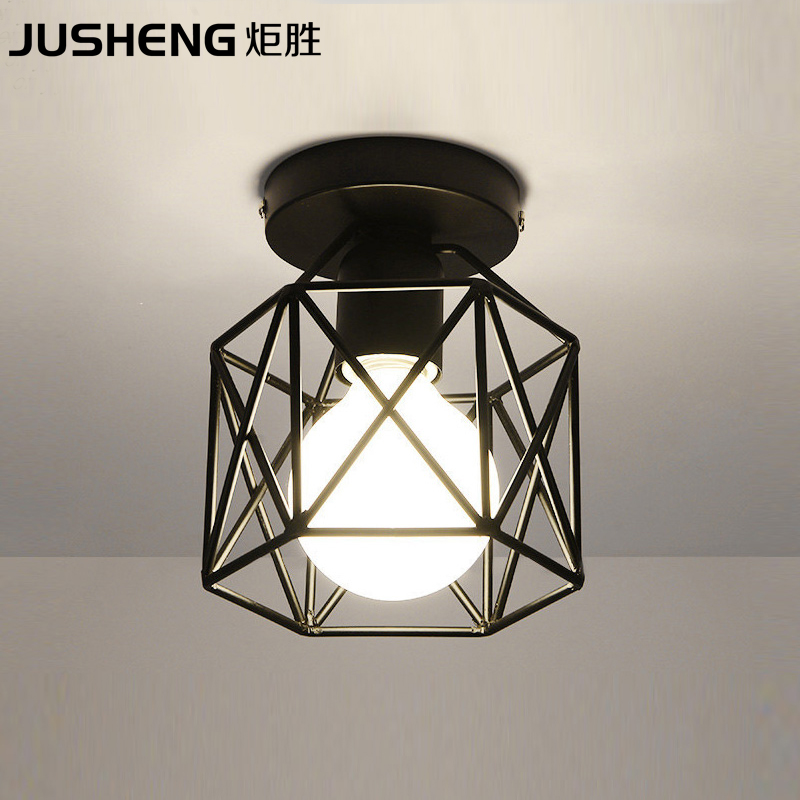 JUSHENG Nordic creative black led ceiling lamp with E27 Socket fashionable iron restaurant balcony study corridor hall lighting
