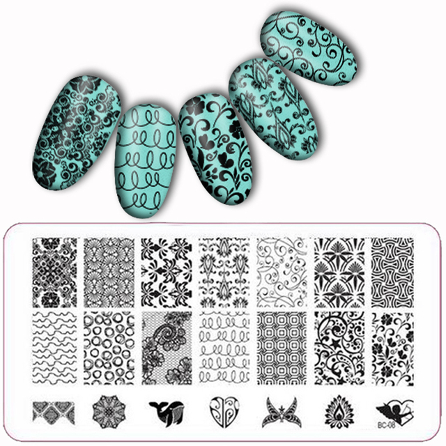 Laced Alle Serie Nail Art Stempelen Image Konad Plate Print Template