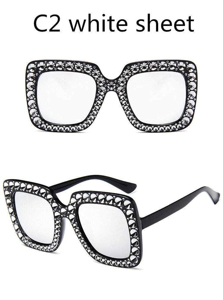 ASUOP2018 International Brand Sunglasses Ladies Crystal Multicolor Mirror Retro All Star Glasses Women Black Gray Hue Sunglasses (8)