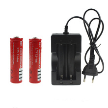 New 2Pcs 3.7V 6800mah 18650 Battery For Lithium Rechargeable Battery +1pcs NK-809 Charger With 70CM Wired