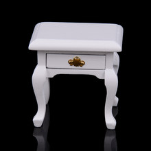New 1 12 Scale Wooden Dollhouse Bedside Cabinet Miniature For Dolls House Bedroom Furniture Accs Decoration