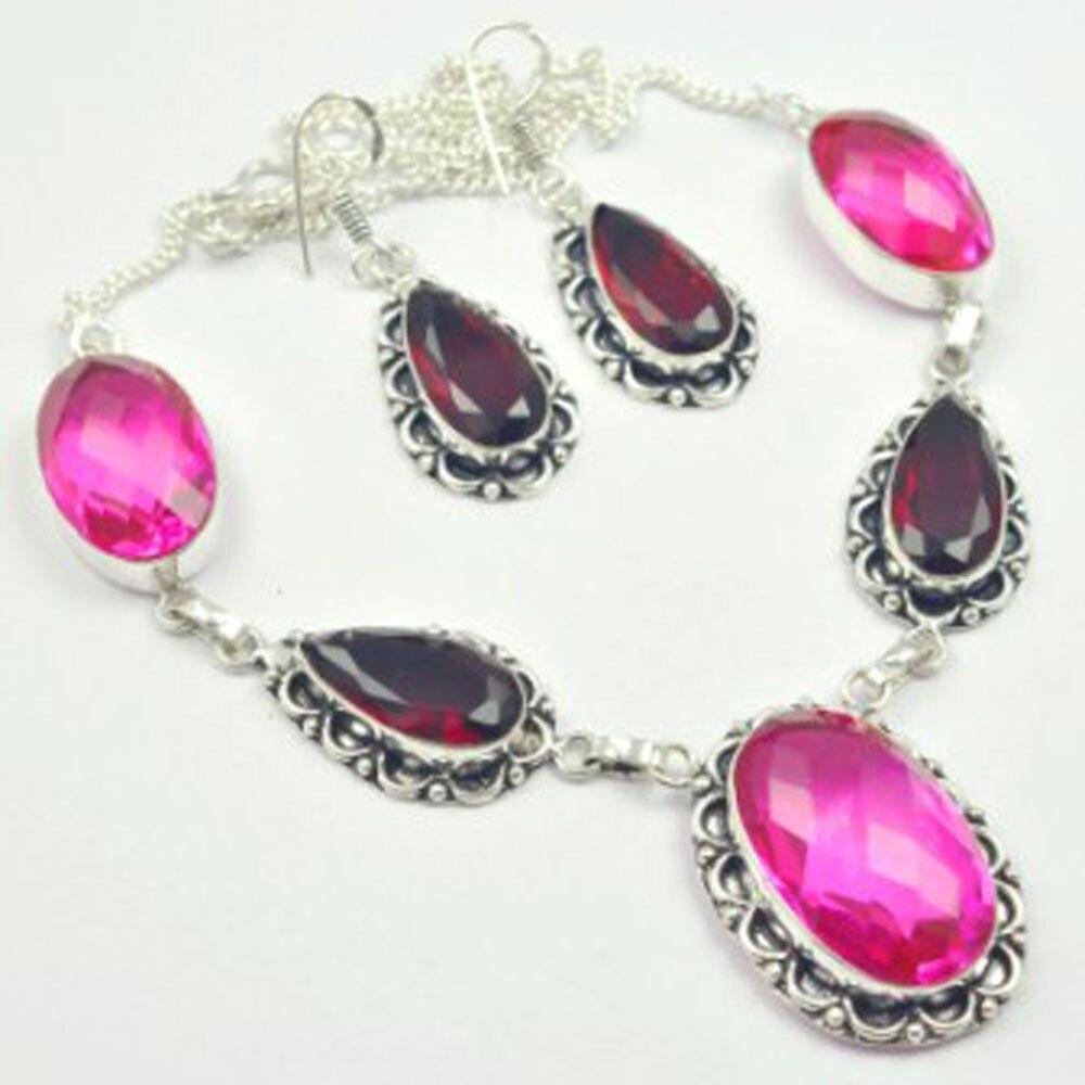 Розовые радужные топы и гранаты ожерелье + серебряное покрытие над медью, 51 см, N3674|Ожерелья с подвеской| | АлиЭкспресс