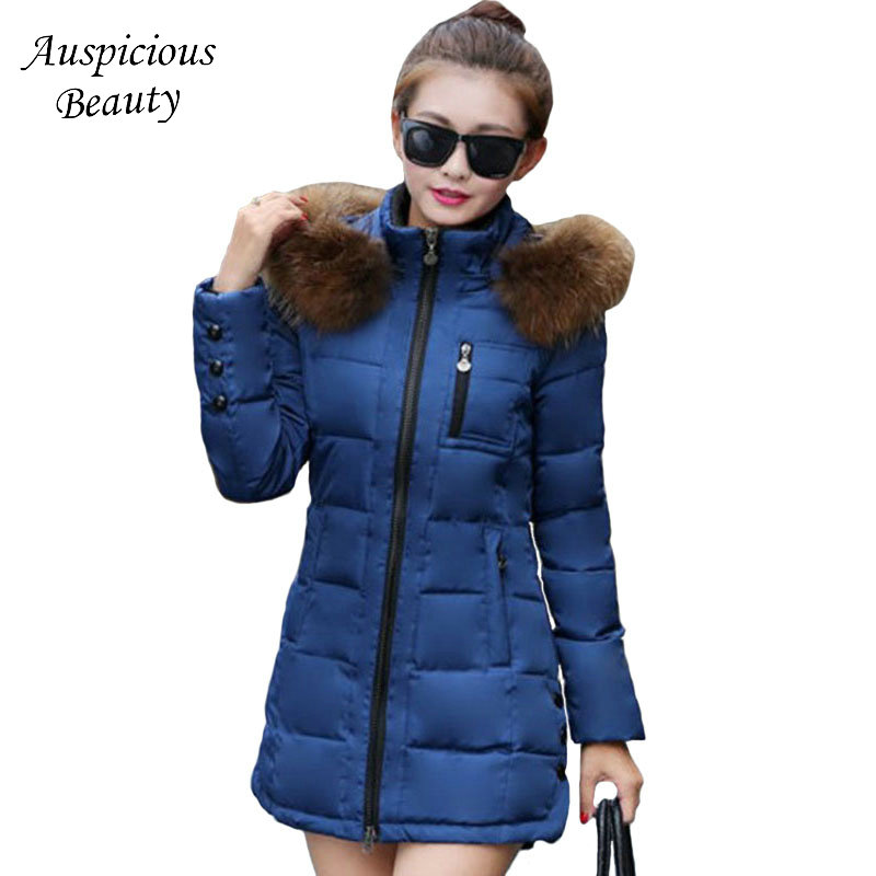 New Winter Jacket Women Fur Hooded Parka Thick Cotton Padded Winter Coat Women Jaqueta Feminina Inverno Chaqueta Mujer CXM334 qazxsw 2017 new winter cotton coat women padded jacket hooded long parkas for girl thick warm winter coat jaqueta feminina hb274