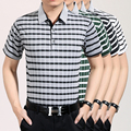 Summer classic striped short sleeve casual men business cotton polo shirt
