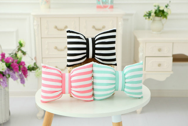 Popular In Instagram Black/Pink/Green Bar Stuffed Bow Cushion Throw Pillow Gift Home Decoration 18''/45cm Freeshipping