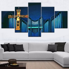Jesus Christ Cross Graphic Painting 5 Piece Modular Style Picture Canvas Print Type Modern Home Decorative Wall Artwork Poster