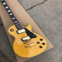 Пользовательские LP Electric Гитары, твердого тела из красного дерева с желтый целлулоид Связывание, золотистый логотип, фурнитура под серебро,