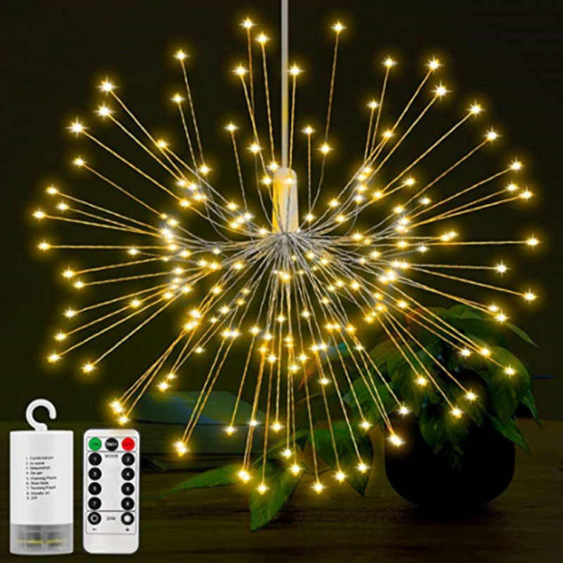 200LEDs DIY LED Fairy String Light Battery Operated Starburst Holiday Light with Remote Control Decoration for Garden Room Party