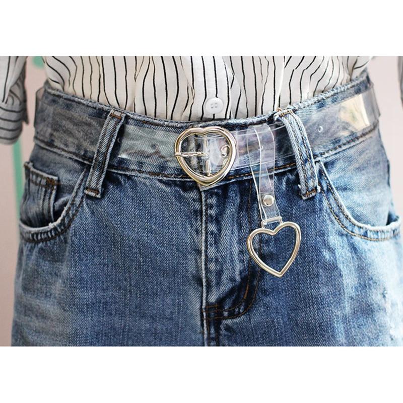 Women's Cute Transparent Belt Heart Buckle Waist Sweet Female Belts Ladies Fashion Harajuku Round Ring Decor Straps Ceinture