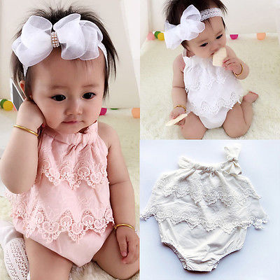 Newborn Baby Girls Body Floral Romper Cotton Jumpsuit Outfit Sunsuit Flower Sleeveless Clothes 0-18M