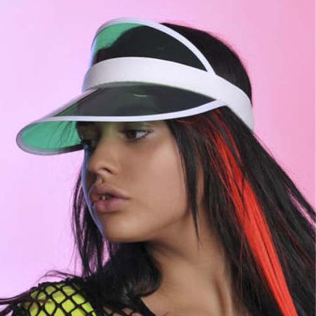 12PCS Plastic Neon Sun Visors Cap Fancy Dress Sunvisor Hat Red Yellow Green  Blue Pink Purple Mix Colors c4de593e794