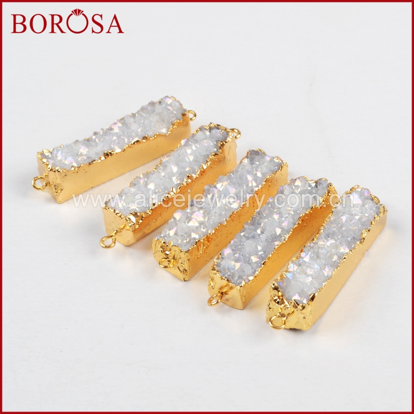 BOROSA Rectangle Natural Stone Titanium AB Druzy Charm Connector Stone Drusy Geode Gold Connector Pendant DIY Bracelet G0501-in Pendants from Jewelry & Accessories    2