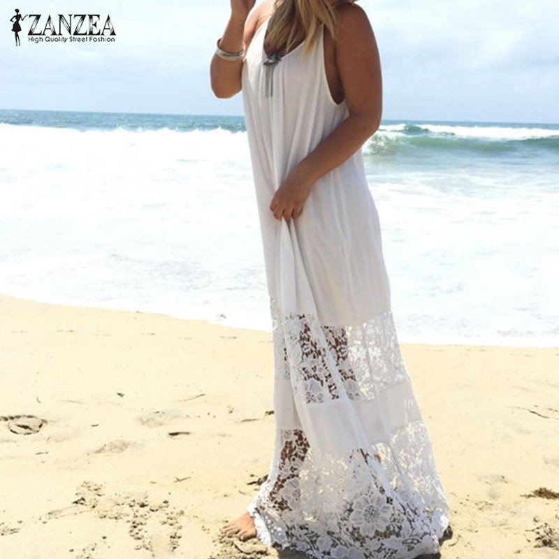 ZANZEA Women 2018 Summer Lace Casual Loose Long Maxi Solid Dress Sexy Strapless Beach Dresses Plus Size Sleeveless Vestidos