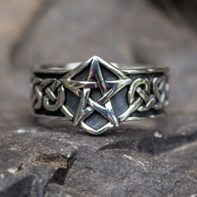 Celtics Knot Gothic 316L Stainless Steel Pentagram Star Pagan Rings Men's Women Fashion Biker Jewelry wholesale high quality mens punk 316l stainless steel pentagram star rings for men biker finger rings rock jewelry us size 9 12