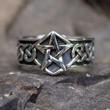 Celtics Knot Gothic 316L Stainless Steel Pentagram Star Pagan Rings Men's Women Fashion Biker Jewelry(China)