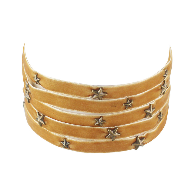 Velvet Multi Layer Choker with Gold Silver Winered Blue Black Color