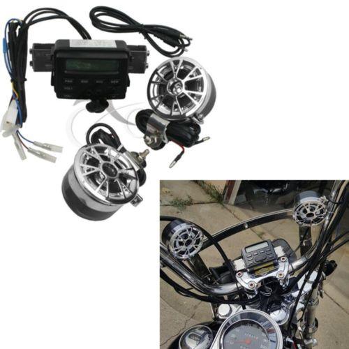 Motorcycle Handlebar Bluetooth Audio Sound System MP3 FM Radio Stereo 2 Speakers For Harley Kawasaki Yamaha Suzuki ATV Bike 2017 hot bluetooth multi function audio intelligent family host background music system lcd screen touch light dimmer 2 speakers