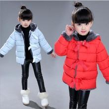 Новая Зимняя детская gril Ватник тепло лук шлема хлопка детей ватник чистый цвет случайные мило комфорт младенческой хлопок одежда