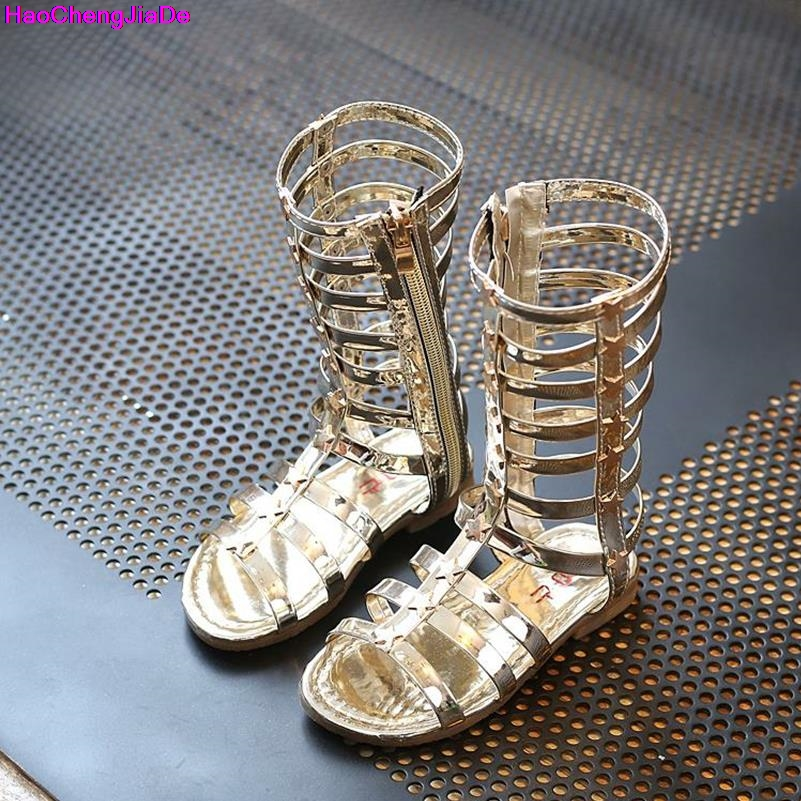 HaoChengJiaDe 2018 Female Childredn Sandals Princess Shoes High Shoes Cut-out Gladiator Baby Boots Girl's Fashion Sandals Flat