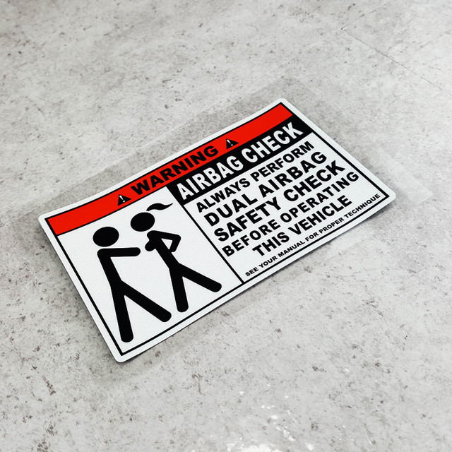 Funny warning airbag check dual safety check car stickers - Cheque caution non rendu ...