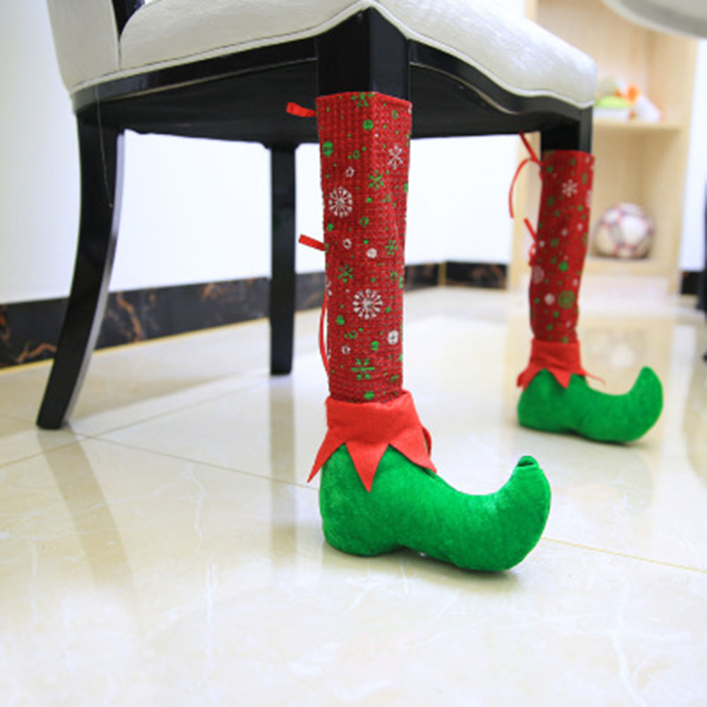 Christmas Restaurant Bars Chairs Feet Cover Xmas party decoration Dinner Table Party Red Hat Chair Legs Covers shoes stocking