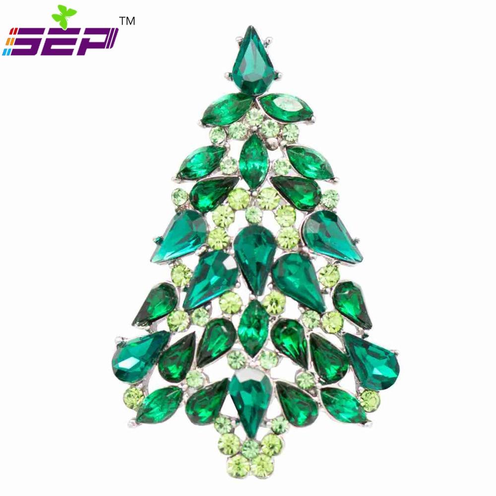 Osztrák kristályok strasszos karácsonyfa tűs brossok nőknek - Divatékszer