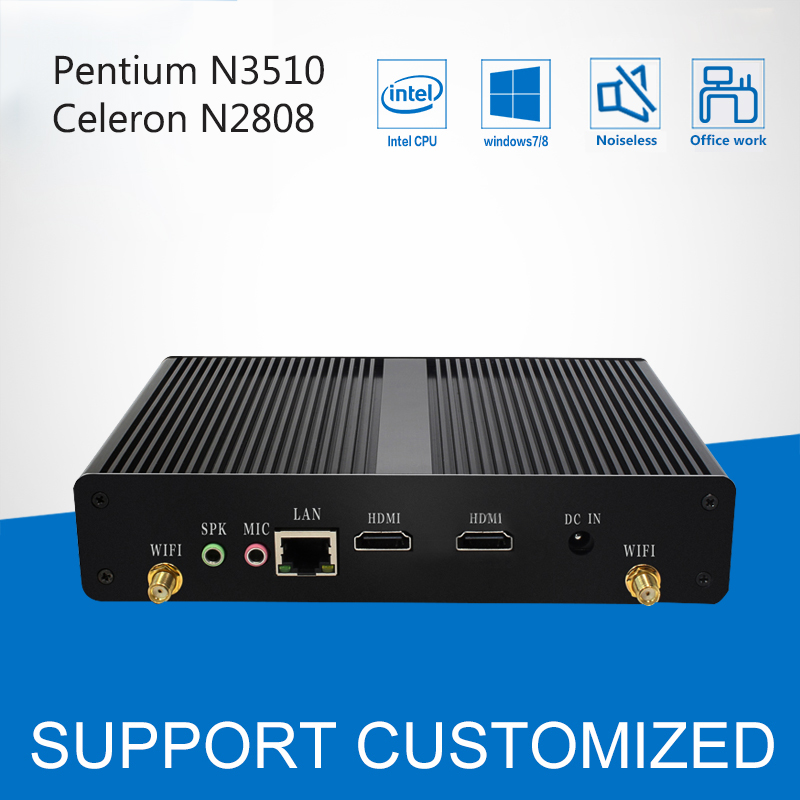 Fanless Mini PC Office Computer Celeron N2808 Pentium N3510 Quad Core 2*HDMI Media Player Windows 10 Mini Desktop HTPC Display promotion mini pc intel pentium n3510 quad core windows 10 linux mini computer pc with wifi htpc tv box computadora
