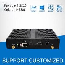 Без вентилятора мини-ПК офисный компьютер Celeron N2808 Pentium N3510 4 ядра 2 * HDMI Media Player Windows 10 мини настольных HTPC дисплей