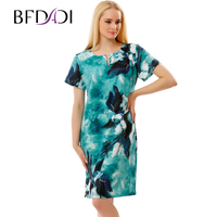 BFDADI 2017 New Elegant Dresses For Women Summer Ladies Ink Floral Print Short Sleeve Plus Size