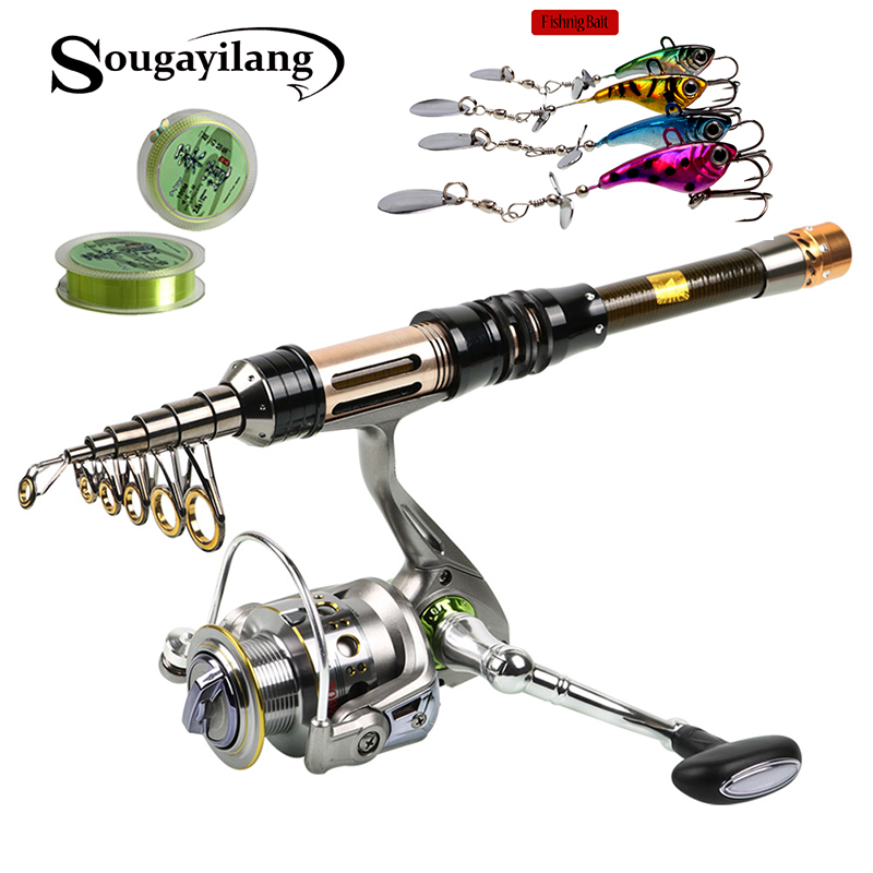 Sougayilang 1.3-2.4m Telescopic Fishing Rod and 13+1BB Fishing Reel Wheel +2pcs Lines+4pcs Hooks Spinning Fishing Rod Reel Combo удочка fishing rod 1