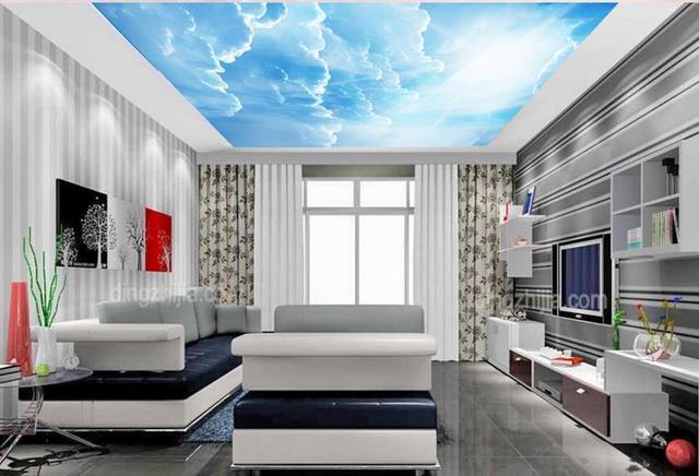 Personnalise 3d Plafond Bleu Ciel Et Blanc Nuages Photo Papier Peint