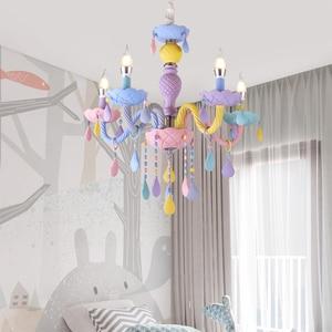 Image 2 - Цветная хрустальная люстра в виде макарона, цветной светильник для детской спальни, креативный Фэнтезийный витражный светильник