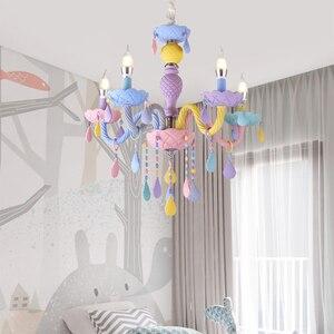 Image 2 - Colorato Lampadario di Cristallo Macaron di Colore Droplight Bambini Camera Da Letto Della Lampada Creativo Fantasy Apparecchio di Vetro Colorato Lustro