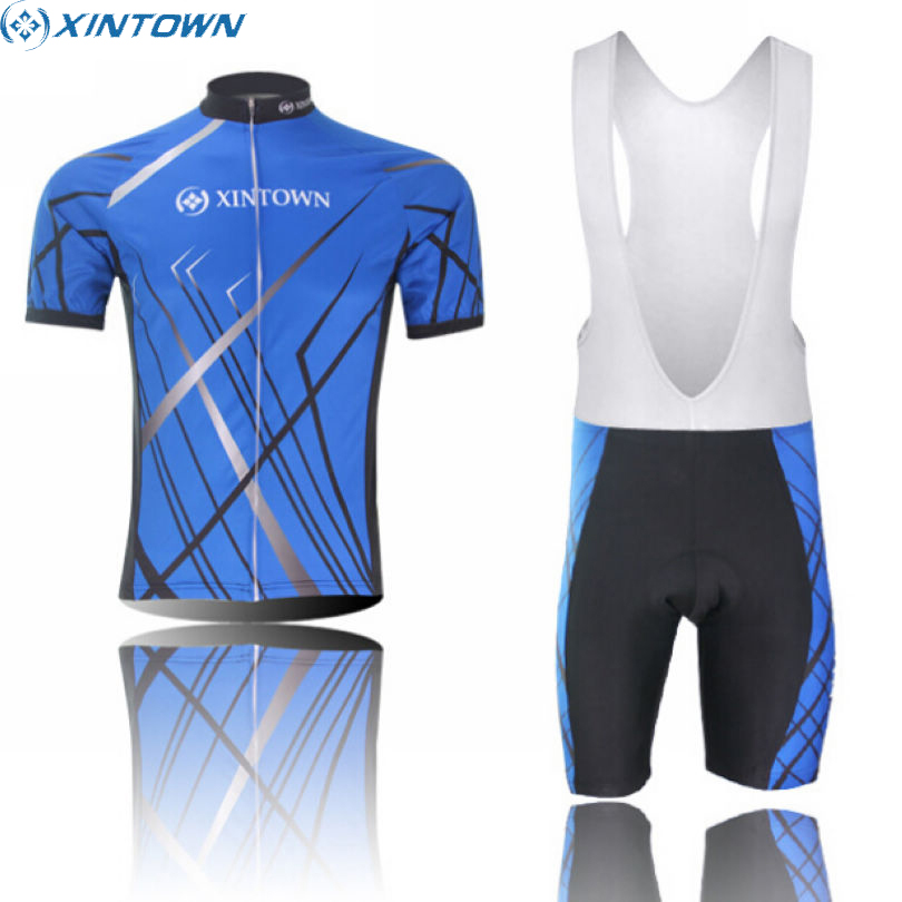 XINTOWN Mens Ropa Ciclismo Short Sleeve Bicycle Clothing Blue Bike Team Cycling Jersey Bib Shorts Outfits Sets S-5XL xintown summer breathable mens team short sleeve cycling jersey riding clothing polyester bike set fluorescent shark
