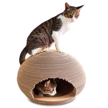 Pet cat toy, corrugated house, spherical litter board claw toy supplies, send grass
