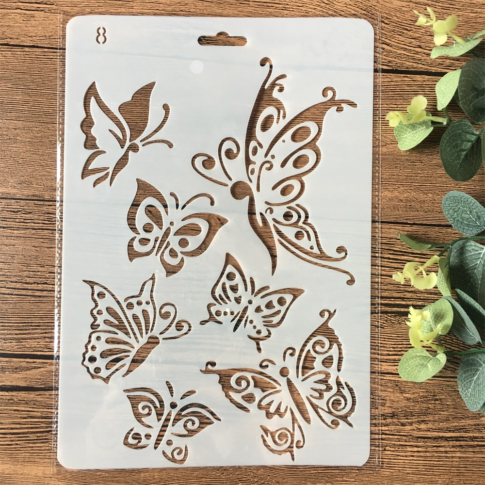 26cm Butterflies DIY Craft Layering Stencils Painting Scrapbooking Stamping Embossing Album Paper Card Template