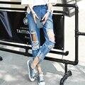 Agujero novio ripped jeans mujeres Refrescan los pantalones de mezclilla pantalones vaqueros rectos de la vendimia para la muchacha de la Alta cintura ocasional femenina