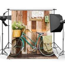 Wedding Decoration Backdrop Vintage Bicycle Postman Old Telephone Fresh Flowers Rustic Stripes Wood Plank Background