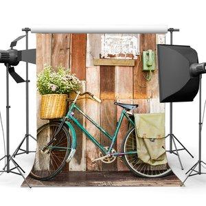Image 1 - Wedding Decoration Backdrop Vintage Bicycle Postman Old Telephone Fresh Flowers Rustic Stripes Wood Plank Background