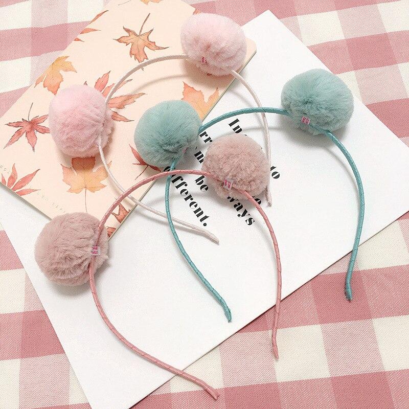 Korea Winter Hair Accessories lovely Wool Pearl Diamond Flower Crown Headband Hair Band Hair Bow Princess 4