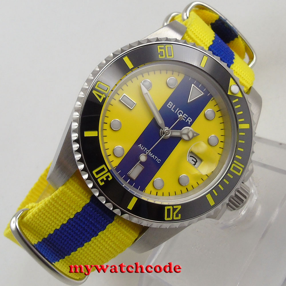 40mm bliger blue & yellow dial sapphire crystal automatic movement mens watch131 цена и фото