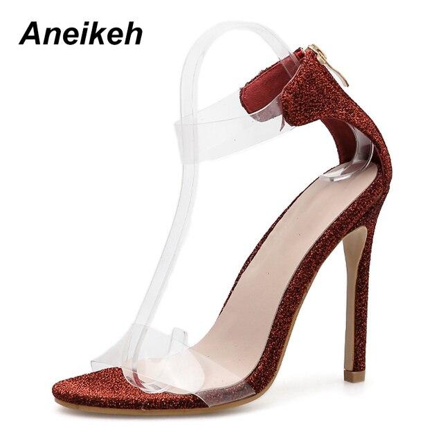 Aneikeh 2019 Sexy Bling High Heel Sandals Ankle Strap Strange Heels  Transparent Sandals Woman Elegant Dress Shoes Size 35-40 a7ae3a82d0d2