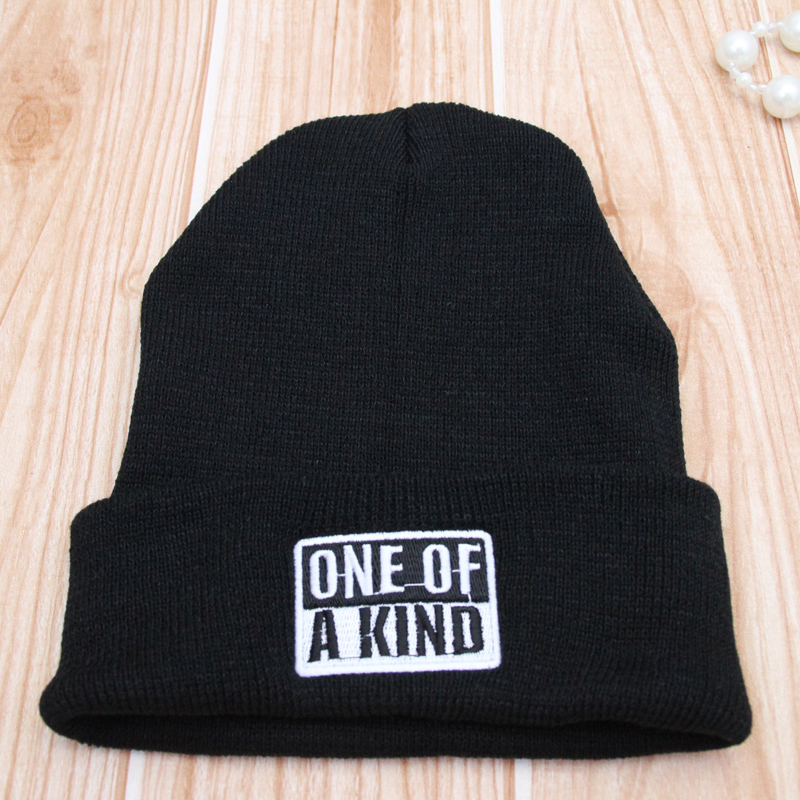 Hot Selling Winter Beanies One of a kind Letter Pattern wool knitted hat hats for Women Men  Beanie Black Color rwby letter hot sale wool beanie female winter hat men