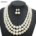 Multi Strand Pearl Necklace New Fashion Statement Imitate Plastic Pearl Bead Party Jewelry For  Women Collares 6410