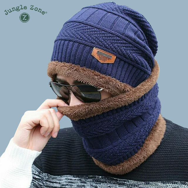 60b0c1eba02241 Neck warm winter hat knitted hat scarf two-piece cap Winter Caps men Caps  men's