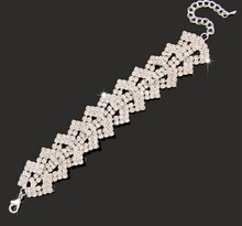 elegant Bridal Jewelry Wedding party Accessories Bridal Bling Bracelet Wrist Band Jb086