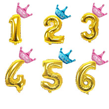 2pcs/set 32/40 Crown Figures Gold Number 0-9 Foil Balloons Birthday Party Decorations Kids Adults Inflatable Helium