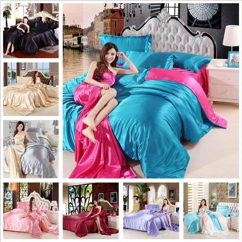 Image 2 - HOT! Satin Silk Bedding Set Home Textile King Size Bed Set Bed Clothes Duvet Cover Flat Sheet Pillowcases Wholesale-in Bedding Sets from Home & Garden