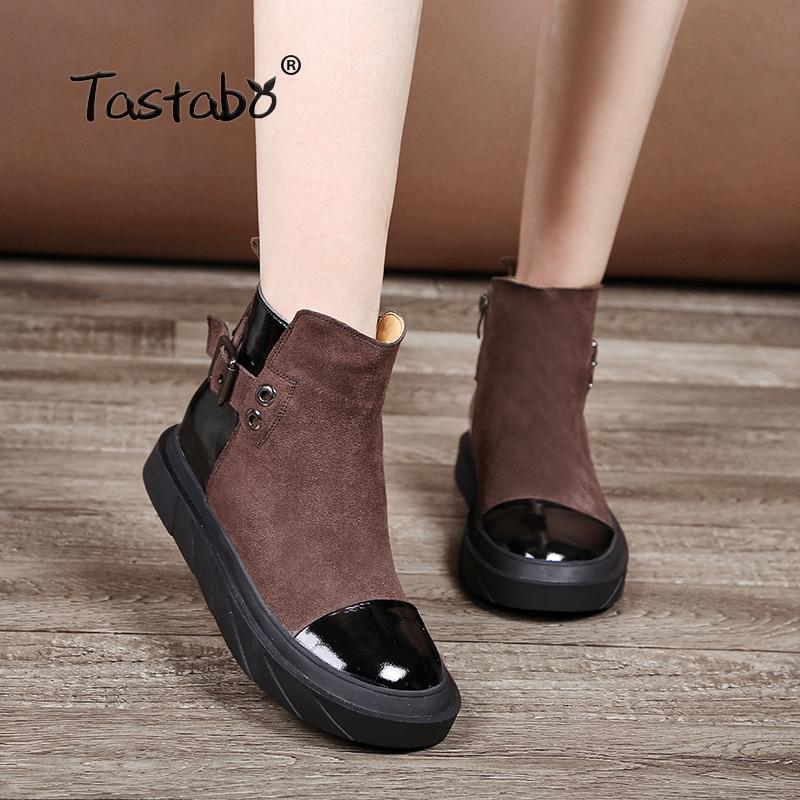 Tastabo 블랙 신발 여성 레트로 부츠 수제 발목 부츠 여성 패션 소프트 스웨이드 가죽 마틴 신발 플랫-에서앵클 부츠부터 신발 의  그룹 1