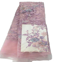 Top Quality 3D Flower Embroidered Beaded French lace fabric HX56-2